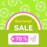 Summer Sale Poster with 70 Discount off Vector. Summer sale poster with 70 discount off, vector illustration green banner with slices of lemon and colorful Vector Illustration