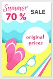 Summer Sale Poster with 70 Discount off Vector. Summer sale poster with original prices 70 discount off, vector illustration banner with flip-flops and Royalty Free Stock Photo