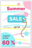 Summer Sale Poster with 60 Discount off Vector. Summer sale poster with original prices 60 discount off, vector illustration banner colorful lines and dots Stock Photo