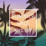 The summer sale poster in a frame on the background of fresh tropic palm leaves poster. Modern Exotic banner, poster Stock Photo