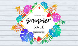 Summer sale poster of fruits and palm leaf vector online shopping banner Royalty Free Stock Photography