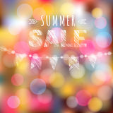 Summer sale poster with garland of flags and lights,  Royalty Free Stock Images