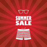 Summer sale poster with man shorts and sunglasses Stock Photo