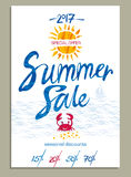 Summer Sale poster with marine themes. Royalty Free Stock Image
