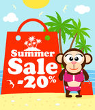 Summer sale poster with monkey Stock Photos