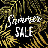 Summer sale poster of palm leaf gold pattern black background Stock Photo