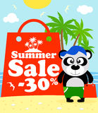 Summer sale poster with panda Stock Photos