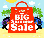 Summer sale poster with penguins Stock Photo