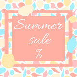 Summer sale poster. Seamless pattern of shells on the background Stock Images