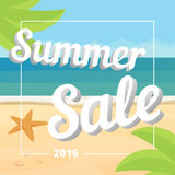 Summer sale poster. Summer sale banner with tropical beach background, vector flat Royalty Free Stock Photography