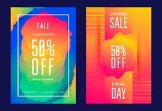 Summer sale poster. Or flyer template in trendy design vibrant gradient. Vector Royalty Free Stock Photo
