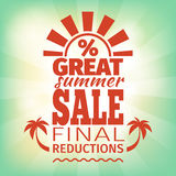 Summer Sale Poster. Template. Vintage advertisement for the final selling Stock Photography