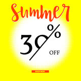 Summer sale poster with thirty percent discount on sunny backdrop. Halftone white sun background. Big button Shop Now Stock Photography