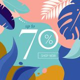 Summer Sale poster with tropic leaves and flamingo, banner and background in modern flat style. Vector illustration royalty free illustration