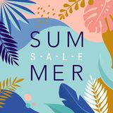 Summer Sale poster with tropic leaves and flamingo, banner and background in modern flat style. Vector illustration vector illustration