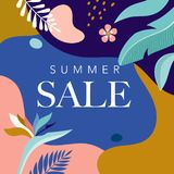Summer Sale poster with tropic leaves and flamingo, banner and background in modern flat style. Vector illustration stock illustration