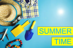 Summer sale poster with vacation beach flat lay Stock Image