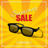 Summer sale poster. Vector sunglasses with summer sale text on sunny background. Summer sale poster. Vector sunglasses on sunny background Royalty Free Stock Photography