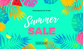 Summer sale price reduce shopping vector palm leaf banner Stock Photography