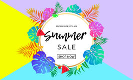 Summer sale price reduce shopping vector palm leaf fruit banner Royalty Free Stock Photography