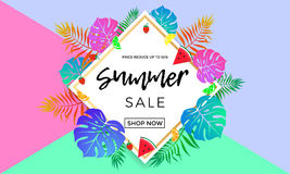 Summer sale price reduce shopping vector palm leaf fruit banner. Summer sale banner template for summertime seasonal discount promo. Vector 50 off special offer royalty free illustration