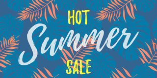 Summer sale price reduce shopping vector palm leaf poster Stock Photos