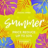 Summer sale price reduce shopping vector palm leaf poster Royalty Free Stock Photography