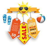 Summer Sale Price Stickers Flip-Flops Beach Ball Royalty Free Stock Image