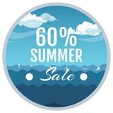 Summer sale promotion sticker. Sea, sky vector illustration. Summer sale promotion sticker. Sea, sky and sample text. Vector illustration concept Stock Photography