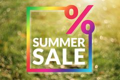 Summer Sale Promotion Template. Copy Space for Numbers of Percentage, Colorful Border. Brighten and Vivid Bokeh as background royalty free stock images