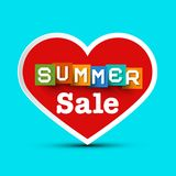 Summer Sale with Red Heart. Vector Stock Illustration