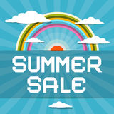 Summer Sale Retro Illustration with Rainbow Royalty Free Stock Images