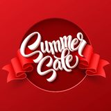Summer sale. Ribbon label. Vector illustration Stock Photography
