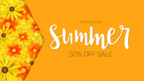 Summer sale, selling banner. hot orange backdrop and field of daisies, yellow flower. Template, mock-up online shopping. Advertising, magazines Stock Image