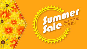 Summer sale, selling banner. hot orange backdrop and field of daisies, yellow flower. Template, mock-up online shopping. Advertising, magazines Stock Photography