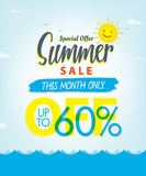 Summer Sale set V.3 60 percent blue heading design for banner or. Poster. Sale and Discounts Concept. Vector illustration Royalty Free Stock Photography