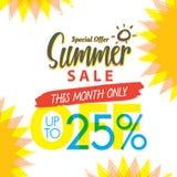 Summer Sale set V.4 25 percent colorful heading design for banne. R or poster. Sale and Discounts Concept. Vector illustration Stock Images