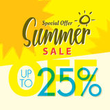 Summer Sale set V.2  25 percent yellow  heading design for banne. R or poster. Sale and Discounts Concept. Vector illustration Royalty Free Stock Photography