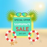 Summer sale shinny beach background with leaf and rubber ring. royalty free illustration