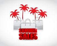 Summer sale sign and bags illustration design Royalty Free Stock Photography