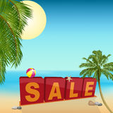 Summer sale sign on the beach Royalty Free Stock Photo