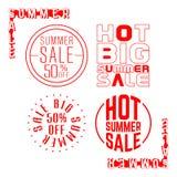Summer sale stamp. Set of sale red label. Vector illustration Stock Photography