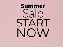 Summer sale start now banner on lite pink color. Summer sale start now banner lite pink color text sell buy royalty free illustration