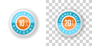 Summer Sale Sticker 10 and 20 percent discount with blue and ora. Template Summer Sale Sticker 10 and 20 percent discount in blue and orange color.  Round label Royalty Free Stock Images