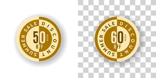 Summer Sale Sticker 50 and 60 percent discount in golden color. Template Summer Sale Sticker 50 and 60 percent discount in golden color.  Round label summer sale Royalty Free Stock Images