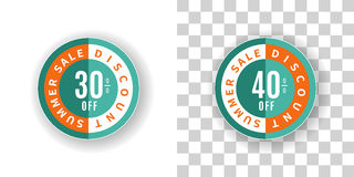 Summer Sale Sticker 30 and 40 percent discount in turquoise. Template Summer Sale Sticker 30 and 40 percent discount in turquoise and orange color.  Round label Stock Image
