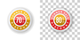 Summer Sale Sticker 70 and 80 percent discount in yellow and red Stock Photos