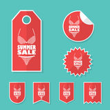 Summer sale stickers with sexy woman bikini. Red Royalty Free Stock Image
