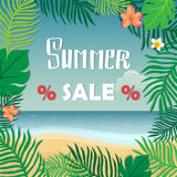 Summer Sale. Summer banner, hand lettering inscription on the background of tropical plants and sea. Stock Photography