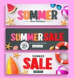 Summer sale and summer greeting banner design set with 3D colorful text. And beach elements in white and black pattern background for summer season template Stock Images